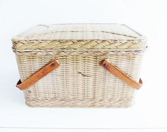Vintage Metal Decoware Picnic Basket Tin, Swing Handles, Basket Weave Metal Storage Tin