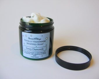 Honey Chamomile Whipped Soap, Cream Soap in a Jar, Natural Vegan Soap