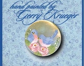 Hand painted button -Bluebirds with roses