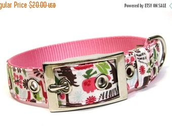 BIG SALE Dog Collar with Metal Buckle- Zoology in Pink