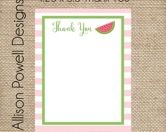 Watermelon, Pink Stripe Personalized Notecard Stationery Set - Thank You Card