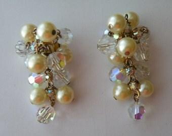 Juliana faux pearls aurora borealis beaded clip - on earrings.