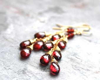 Gold Garnet Earrings Cascade Earrings Romantic Long Dangling Red Gemstone Earrings 14k Gold Filled Jewelry