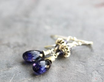 Teardrop Iolite Earrings Blue Gemstone Earrings Sterling Silver Water Sapphire
