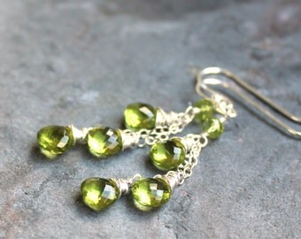 Peridot Earrings Jewelry Sterling Silver Green Dangling Cascade - Petite apple green stone August Birthstone