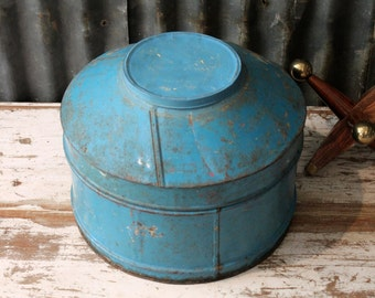 Vintage Reclaimed Tin Box Blue Metal Canister Storage Round Box w/ Lid Boho Decor Photo Prop Industrial Accent