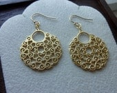 LACY- Baroque Style Round Chandeliers with Stamped 14K Gold Filled Shepherd Hook Earrings