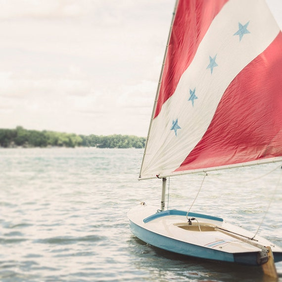 Red, White, and Blue, Photography Print, Nautical , Lake Art, Coastal Home Decor, Summer Cottage Art, Fine Art Print, Cindy Taylor Print