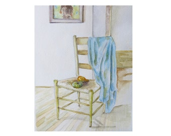 "Print of - Blue Shirt Draped Over Chair, approximately  8""x10"""