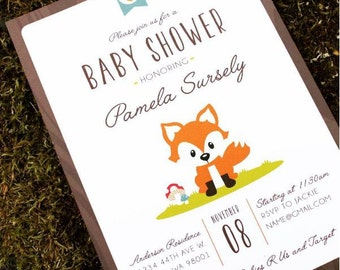 Woodland Forest Fox Baby Shower invitation - set of 12