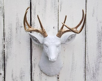 white deer head with gold antlers deer decor choice color