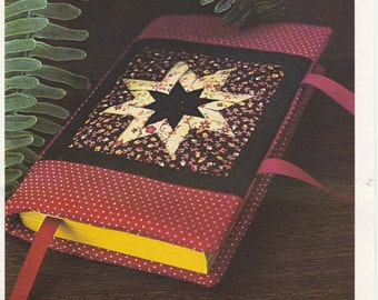 Folded-Star Book Cover Pattern Quilted Book Cover for Small Paperback Book