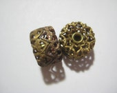 Vintage Brass Beads: 1940s Hollow Filigree Rondelle, Designer Quality, Earring Focal Finding, 12x7mm, One Pair