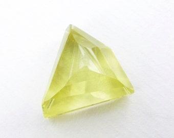 Yellow LEMON Citrine QUARTZ Faceted. Micro Facet Cabochon. Rose Cut. Bright & Clean. Geometric Triangle. 1 pc. 20.73 cts. 20x20x10mm (Ct427)