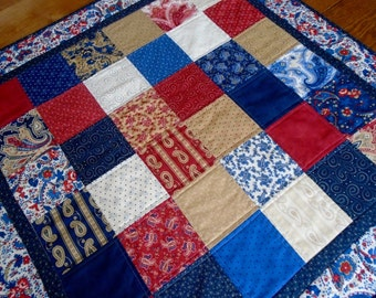 Americana Quilted Table Topper, Country Quilted Table Runner, Patriotic Table Quilt, Small Lap Quilt, Independence Day, Fourth of July Quilt
