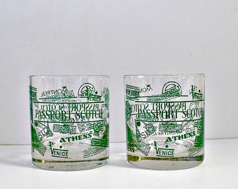 Rocks Glasses PASSPORT Scotch Glasses Vintage Barware Old Fashioned Low Ball Glasses Mid Century