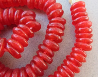 African Red Glass Beads