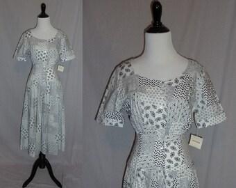 80s Black White Dress - Full Skirt - Bandana Print - Summer Dress - Deadstock Unworn - Liz Claiborne Collection - Vintage 1980s - 4 XS S
