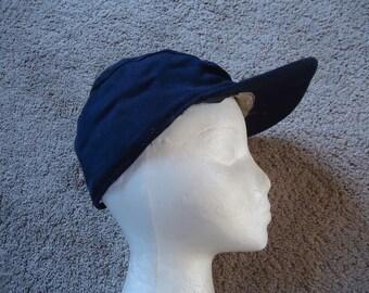 Navy Blue ROCKABILLY Vintage 1950's Mens Earflap HUNTING Hat Cap 7 1/2