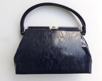 Vintage 60's Purse Handbag Navy Blue Vinyl Patent with Crinkle Pattern