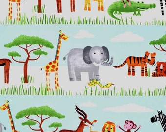 Baby Crib Blanket, Safari Baby Nursery, Personalized Minky Baby Blanket, Jungle Animals, Giraffe, Elephant, Tigers, Gender Neutral