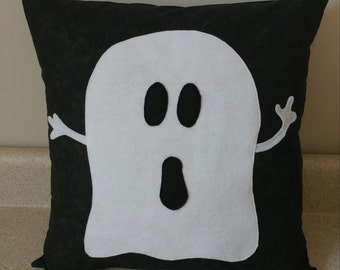 1 Halloween fall pillow cover sham ghost black white cushions harvest scary felt 18x18