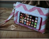 touch screen case - phone case - phone wallet - pink chevron phone wallet - gadget case