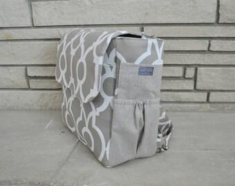 READY TO SHIP - Beige Diaper Bag Backpack - Tan and White - Convertible Diaper Bag - Crossbody bag - Shoulder bag - Diaper Bag