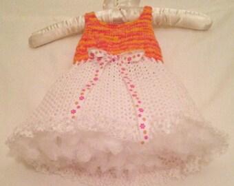 Orange & White Baby Dress, Orange and White Sundress, Tangerine Sundress, Bright Orange Spring Dress, Baby Sundress, Toddler Sundress