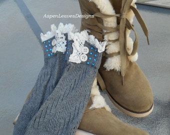 Teens gray boot cuff with blue faux gems,  Womens boot socks with bling and buttons, Short leg warmers, Ankle cuffs