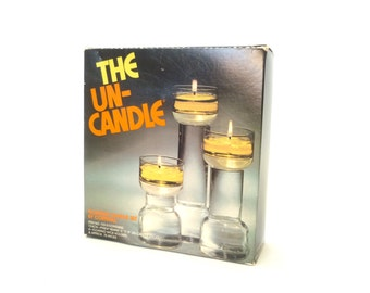 Vintage Mod Pyrex Corning The Un-Candle Trio Set #133-S ... Boxed Set of 3 Glass Floating Candles, 1970s Decor, Modernist Groovy Storage
