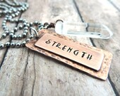 Strength Personal Mantra Necklace - Positive Energy Jewelry - Crystal Quartz Healing Stone - Inspirational Stamped Copper Word Pendant