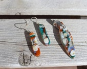 Fused glass pendant and earring set, fused glass, fused pendant, fused earrings, glass pendant, glass earrings, pendant and earring set