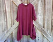 linen contemporary tunic dress in port wine burgundy ready to ship