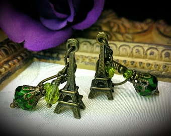 Eiffel Tower Earrings, Lime Green Crystal Steampunk Paris Charms Antique Bronze Filigree Titanic Temptations Vintage Victorian Style Jewelry