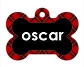 Personalized Pet ID Tag - Oscar Custom Name Red Plaid Bone Pet ID Tag, Dog Tag