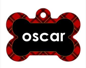 Personalized Pet ID Tag - Oscar Custom Name Red Plaid Bone Pet ID Tag, Dog Tag