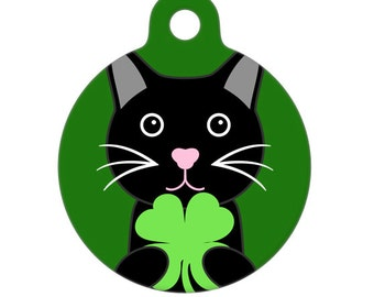 Pet ID Tag - Happy St. Patricks Day Kitty Cat Pet Tag, Cat Tag, Luggage Tag