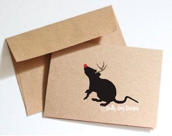 Rat Holiday Card, rat, christmas card, rat card, rat christmas card, rattie, rodent, greeting card, card, holiday, christmas