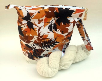 Knitting Crochet Project Bag, Zipper Project Bag, Medium, Vintage Autumn Leaves Print fabric