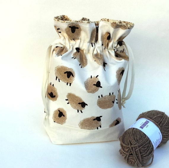 Knitting Crochet Project Bag, Medium Drawstring or Zipper, Cute Sheep Print Fabric