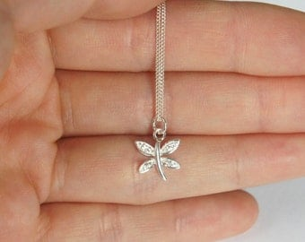 Sterling Silver Dragonfly Necklace, Cubic Zirconia, Birthday Gift, Kids Gift, Kids Jewerly, Bridesmaid Jewelry