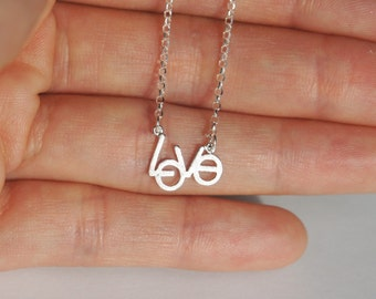 Love Necklace, Sterling Silver, Dainty Necklace, Kids Jewelry, Kids Necklace, Valentine's Day Gift, Birthday Gift, Children's Gift