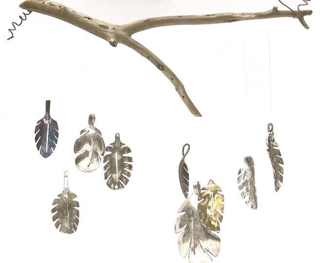 Fall Leaf Windchime, Leaves Mobile, Natural Wind Chime, Winter Garden, Faux Floral Arrangement, Unique Mother In Law Naturalist Gift Wooden