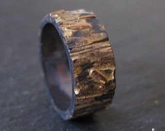 Mens Wedding Band Mens Wedding Ring Bark Ring Rose Gold Black Gold Ring Bark Wedding Band Oxidized Ring Rustic Wedding Band Unique Artisan