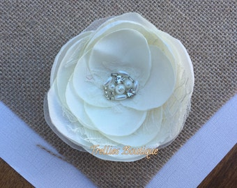 Satin and Lace Flower Hair Clip, Burned Flower Hair Clip- Flower Girl, Wedding Hair Clip, Bridal