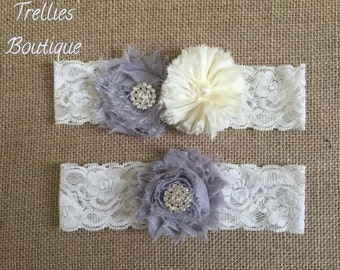 Ivory Gray Lace Rhinestone Pearl Bridal Garter Set, Wedding Garter,  White, Ivory, Wedding, Headband