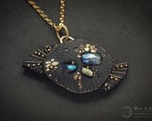 Stars & Galaxies necklace gothic gold labradorite universe abstract goth black dragon skin