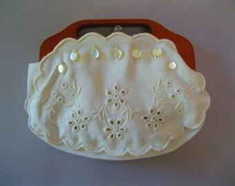 60s Bermuda  Embroidered Purse - 1960s White Wood Handbag - Cotton Boho Bag