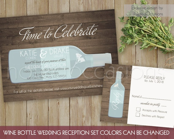 rustic wine bottle wedding invitation wedding by notedoccasions. Black Bedroom Furniture Sets. Home Design Ideas